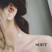耳環 名媛風簡約百搭大小珍珠吊墜 垂吊式長款耳飾耳環【1DDE0087】