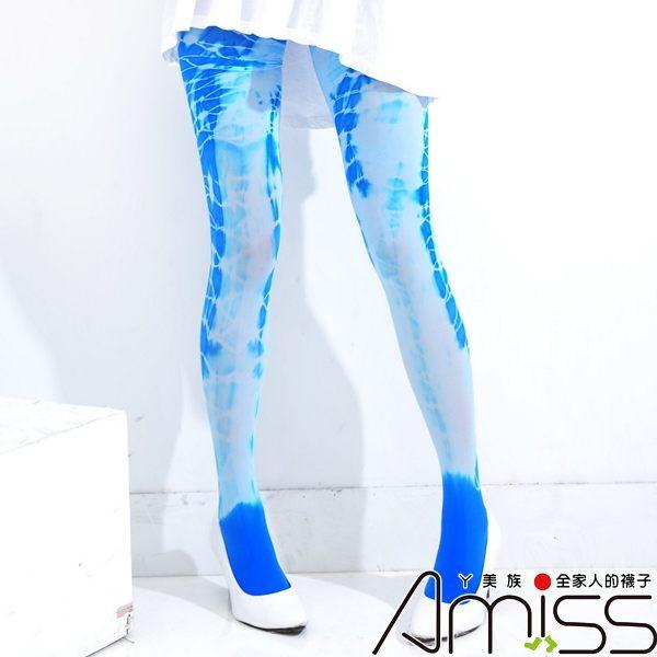 Amiss【E001-1】科技噴染‧個性褲襪♫噴染水藍(3款)