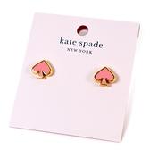 美國正品 KATE SPADE 琺瑯桃心針式耳環-嫩粉【現貨】