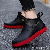 男士雨靴 時尚防滑短筒雨鞋男士水鞋雨靴平底廚房工作膠鞋厚底低幫水 母親節特惠