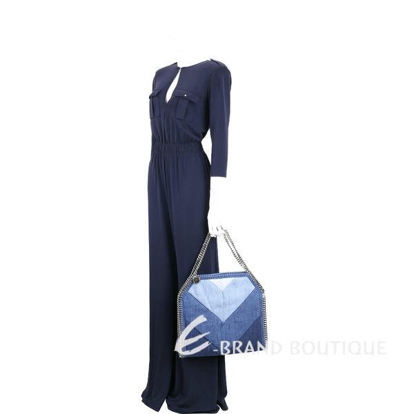 Stella McCartney Falabella 丹寧牛仔幾何拼接鍊帶肩背包(藍色系) 1711118-23