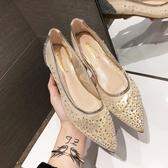 2019新款chic滿天星網紗仙女鞋平底婚鞋韓版尖頭淺口平底水鑚單鞋 交換禮物