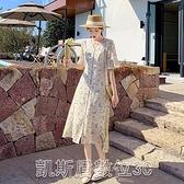 實拍9272法式碎花雪紡連身裙女夏裝新款收腰顯瘦桔梗裙套頭中長裙洋裝【凱斯盾】