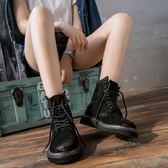 馬丁靴馬丁靴女春秋款短靴英倫風薄款2019夏季透氣網紅平底單靴黑可卡衣櫃