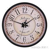 掛鐘客廳圓形復古歐式鐘錶電子時鐘靜音古典電子石英鐘掛錶 莫妮卡小屋 YXS