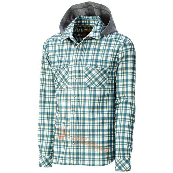 Wildland 荒野 0A32202-46土耳其藍 男 彈性格紋連帽保暖襯衫