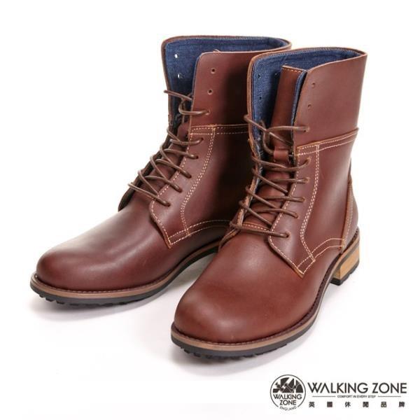 【南紡購物中心】【WALKING ZONE】帥氣俐落8孔造型休閒中筒 女靴-咖(另有黑)
