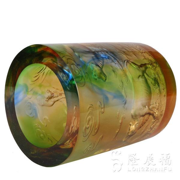 古法琉璃五牛圖高檔筆筒