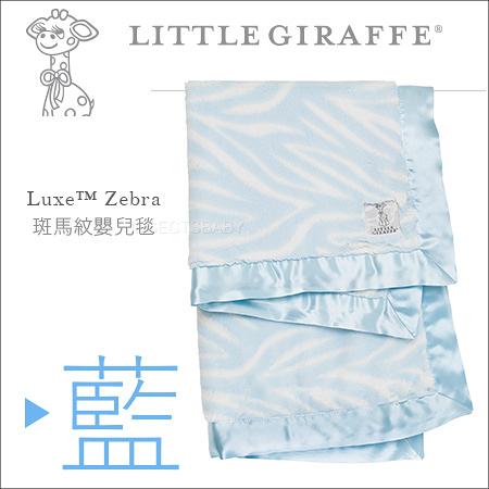 ✿蟲寶寶✿【美國 Little Giraffe】彌月精品 Luxe Baby Blanket 斑馬印花紋嬰兒毯 - 藍色