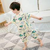 兒童恐龍連體睡衣寶寶夏季防著涼純棉莫代爾男寶空調服夏天薄款