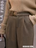 卡其色毛呢褲女秋冬寬鬆直筒高腰顯瘦百搭九分煙管哈倫西裝褲 奇妙商鋪