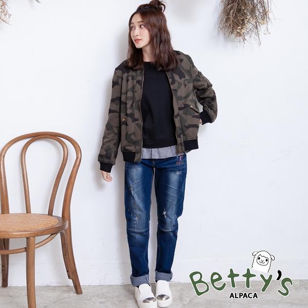 betty's貝蒂思 個性刷色小貝羊刺繡牛仔褲(深藍)