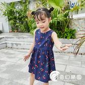 女童洋裝-女童夏裝背心連身裙小露背系帶韓版純棉洋氣潮-奇幻樂園