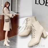 馬丁靴女春季新款方頭高跟鞋女百搭英倫風系帶粗跟單款短靴女 雙十二全館免運