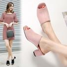 大尺碼女鞋34-44☆2019韓版百搭顯瘦絨皮中跟涼拖鞋穆勒鞋~3色