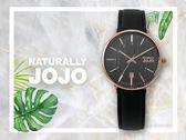 【時間道】NATURALLY JOJO  時尚木紋面皮帶腕錶 / 黑面玫瑰金殼黑皮(JO96898-88R)免運費