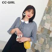 中大尺碼 氣質刺繡貓咪V領上衣 - 適XL~5L《 64875HH 》CC-GIRL