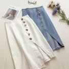 牛仔半身裙 牛仔裙中長款秋冬新款白色開叉裙高腰排扣不規則長裙子 - 巴黎衣櫃