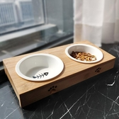 貓碗陶瓷貓食盆雙碗保護頸椎貓咪碗水碗架貓糧碗狗碗陶瓷寵物狗盆 【快速出貨】
