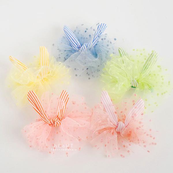 波點網紗蝴蝶結兔耳朵鴨嘴髮夾 邊夾 碎髮夾 鴨嘴夾