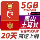 黑山/土耳其 20天 5GB高速上網 支援4G高速 還有包含歐洲多國可以同時使用