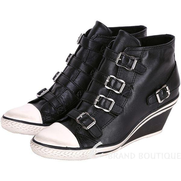 ASH GENIAL 經典羊皮釦帶楔型休閒鞋(黑色) 1520450-01