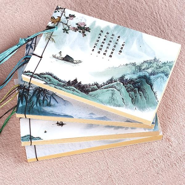 可開發票-大量訂購A6古風仙俠手工線裝本子流蘇中國風筆記本文具繪畫記事本