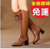 歐洲秋冬女粗跟側拉鏈馬丁靴2色100t56【Brag Na義式精品】