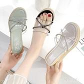 涼拖 松糕厚底涼鞋女士坡跟夏季2020年新款女鞋百搭韓版學生仙女風 OO12830【雅居屋】