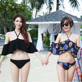 泳裝 比基尼 泳衣 素色 印花 荷葉邊 兩件套 三角 比基尼 泳裝【SF1733】 icoca  03/01