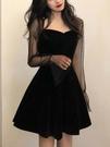 年會禮服 年會宴會晚禮服女春裝新款法式小黑裙內搭連衣裙小個子【快速出貨八折搶購】