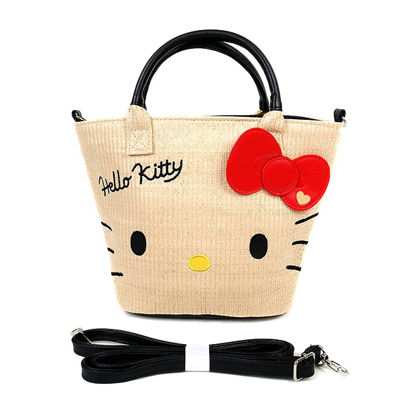 Hello Kitty海灘包 夏日海灘風藤編手提斜背兩用海灘包/手提包/手提袋/斜背包 [喜愛屋]