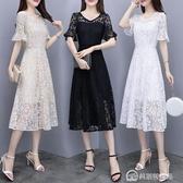 蕾絲洋裝溫柔仙女裙收腰顯瘦冷淡風氣質白色A字裙