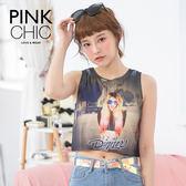 背心 中分女孩圖騰純棉背心 - PINK CHIC - 32097