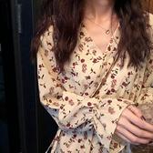 溫柔風碎花雪紡洋裝2021新款春秋裙子仙女超仙森系法式初戀長裙 青木鋪子