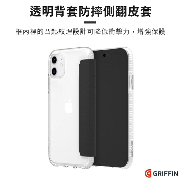《贈滿版玻璃保護貼》Griffin Survivor Clear Wallet iPhone 11 /Pro /Pro Max 透明背套防摔側翻皮套