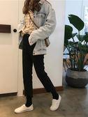 牛仔褲 女春裝韓版chic高腰顯瘦毛邊牛仔褲九分褲寬鬆顯瘦直筒褲 伊韓時尚