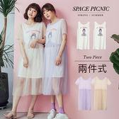 兩件 Space Picnic|現+預.兩件式.黑白女孩印圖上衣+短袖網紗洋裝【C18051017】