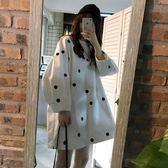 秋裝女2018新款韓版中長款圓領長袖連衣裙chic寬鬆波點泡泡袖裙子 雙11購物節
