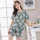 睡衣組女夏季純棉韓版甜美可愛可外穿寬鬆家居服兩件套裝 mc8161『東京衣社』