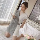 VK精品服飾 韓國風時尚收腰條紋拼接寬口短褲套裝短袖褲裝