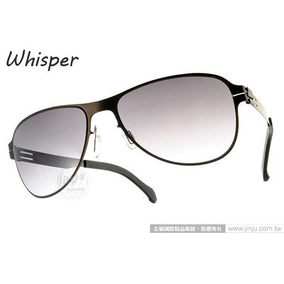 WHISPER 太陽眼鏡 WHM0003S C35BL (槍黑) 結合複合薄鋼新材質 墨鏡 # 金橘眼鏡