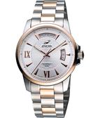 ENICAR 恆動經典日曆機械腕錶-銀/雙色版 169-50-338G