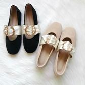 女瑪麗珍鞋 云足單鞋溫柔百搭珍珠鞋瑪麗珍平底鞋加絨毛毛鞋保暖仙女鞋秋【快速出貨】