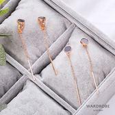 圓形金屬質感垂墜式耳針耳夾耳環 / 衣櫃控-WardrobE / YI080