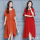 中大尺碼 大尺碼寬鬆洋裝大碼女裝中長款遮肚顯瘦假兩件雪紡連衣裙 WD1297『衣好月圓』