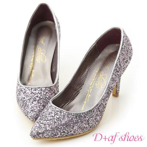 婚鞋 D+AF 絕美閃耀.滿滿亮片美型尖頭高跟鞋*紫