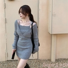 針織洋裝 針織連身裙女假兩件黑色長袖包臀短裙秋冬2021年新款內搭打底裙子 suger