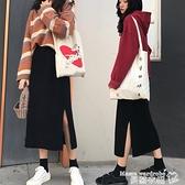 熱賣針織半身裙 2021新款中長a字針織半身裙女秋冬ins超火開叉打底一步包臀裙子 曼慕