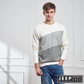 【JEEP】簡約漸層拼接長袖TEE (白)